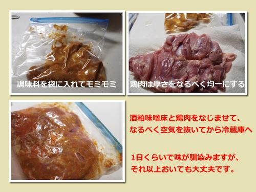 鶏肉の酒粕味噌漬け(工程)