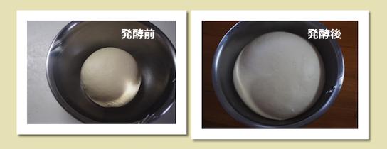 パン作り(発酵前と発酵後)
